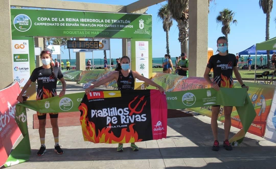 Diablillos de Rivas en Relevos y Cidade de Lugo Fluvial en clubes se llevan los máximos puntos para la Liga Iberdrola de Triatlón en Roquetas de Mar