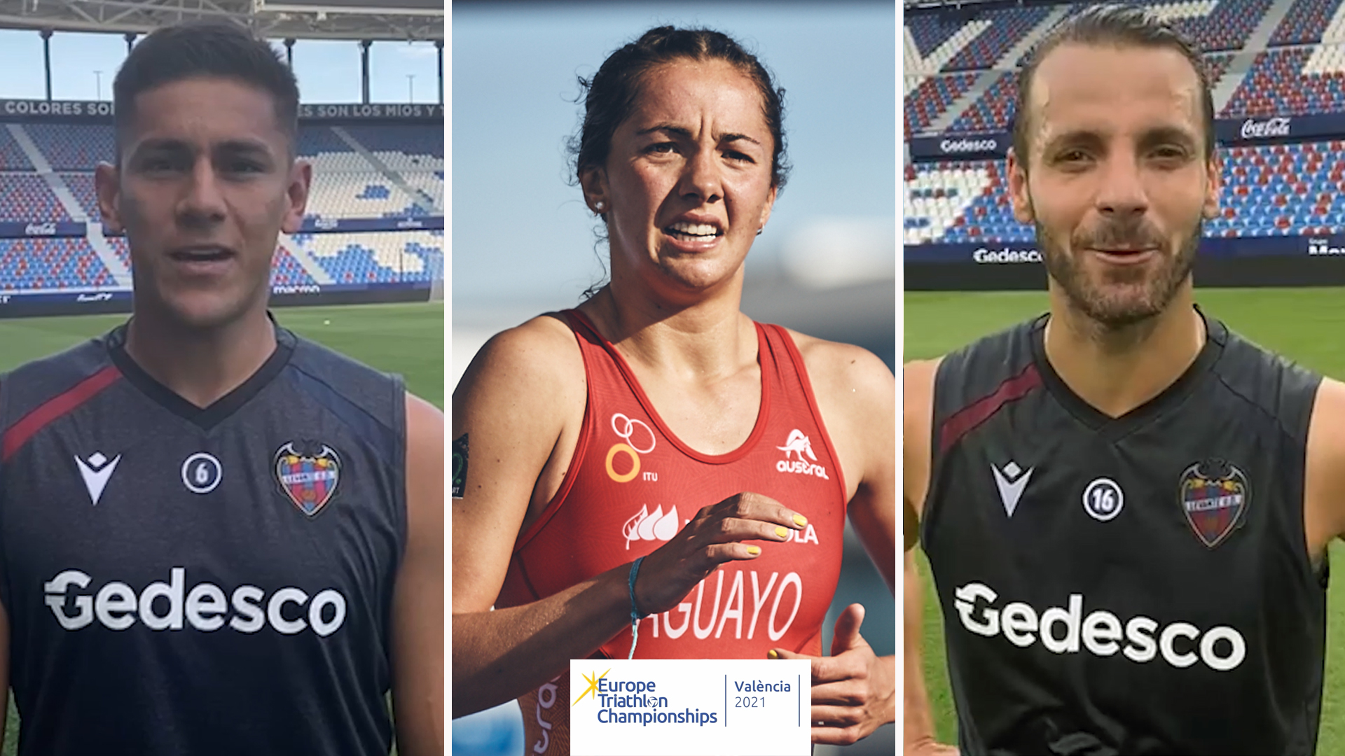 El Levante U.D. se suma al Campeonato de Europa de Triatlón València 2021 con los mensajes de apoyo de Soldado y Duarte